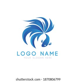 Blue betta fish modern logo vector template design, suitable for fishing, market shop, business store, aquatic mascot and environment icon