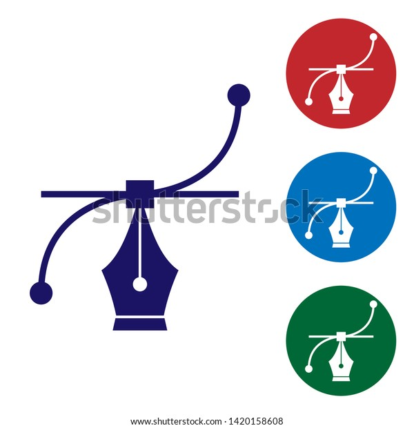 Blue Bezier Curve Icon Isolated On Stock Vector (Royalty Free