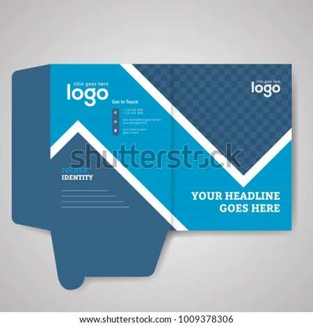 blue bi fold presentation folder vector stock vector royalty free