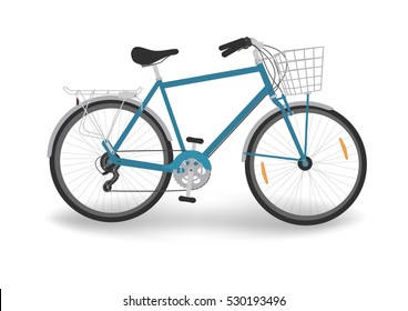 Blue bicycle with basket. Bike isolated on white background. Vector illustration.