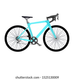 Blue bicycle isolated. Flat design vector illustration.
