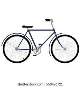 Blue bicycle. Bicycle on white vector illustration. Old time bicycle.