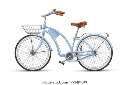 Blue bicycle. Realistic vector vintage bike with basket. 3d detailed photo-realistic illustration isolated. Sport activity, lifestyle, summer eco transportation object for design