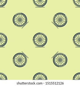 Blue Bicycle wheel icon isolated seamless pattern on yellow background. Bike race. Extreme sport. Sport equipment.  Vector Illustration