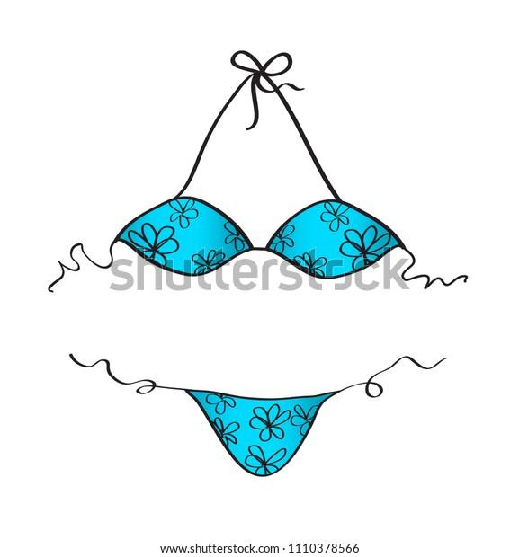Blue bikini vector illustration, fashion girls, vacation summer template, web icon