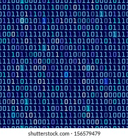 Blue binary computer code repeating vector background illustration