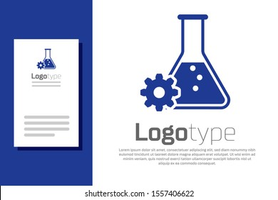 Blue Bioengineering icon isolated on white background. Element of genetics and bioengineering icon. Biology, molecule, chemical icon. Logo design template element. Vector Illustration