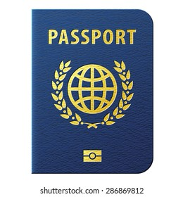 Blue biometric passport isolated on white. International identification document for travel. Vector image about verification & citizenship, tourism and vacation