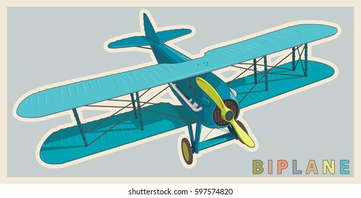 Blue biplane in vintage and color stylization. Model aircraft propeller with two wings. Old retro aircraft designed for poster printing. Beautifully and realistically drawn vector flying biplane.