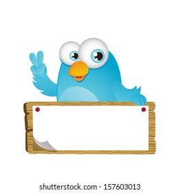 Blue Bird with Big Signboard