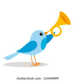 a blue bird blowing a trumpet vector