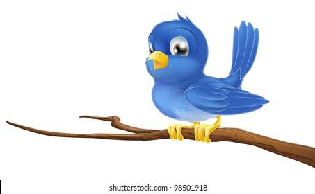 A blue bird cartoon character sitting on a branch