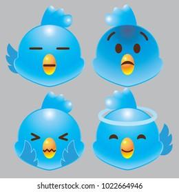 blue bird emoji icon set