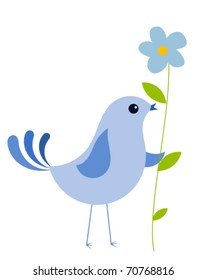 Blue bird with blue forget-me-not flower. Vector illustration