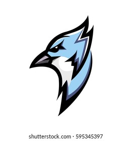 Blue bird head mascot