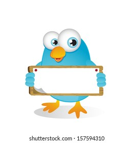 Blue Bird holding Blank Sign with Both Hands