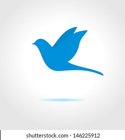 Blue bird on gray background. Abstract vector symbol.