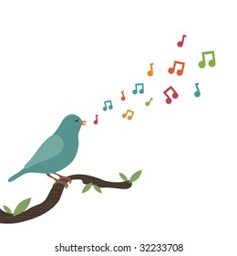 blue bird perched on branch singing a tune