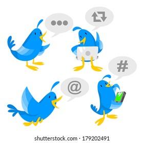Blue bird socializing on laptop and phone.