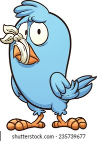 Blue bird with a tied beak. Vector clip art illustration with simple gradients. All in a single layer.