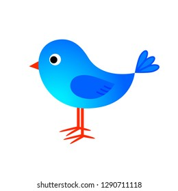 Blue bird vector icon on white background
