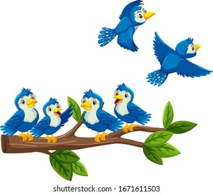 Blue birds on the branch on white background illustration