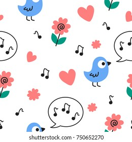 Blue Birds Singing Music with Pink Hearts and Flowers Vector Seamless Pattern