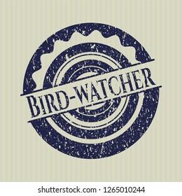 Blue Bird-watcher distressed rubber stamp