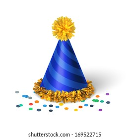 Blue birthday hat with spirals isolated vector illustration