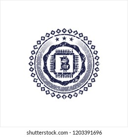 Blue bitcoin chip (cryptocurrency mining concept) icon inside distressed rubber grunge texture stamp