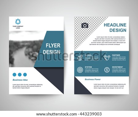 Blue Black Abstract Flyer Layout Template Stock Vector Royalty Free