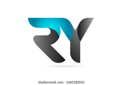 blue black alphabet letter RY R Y combination logo design suitable for a company or business