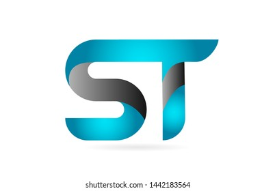 blue black alphabet letter ST S T combination logo design suitable for a company or business