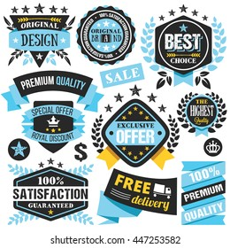 Blue and black badges, ribbons, insignias and labels set. Shopping, sale, discount concepts. Vector illustration isolated on white background