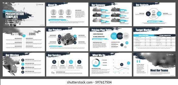 Blue and black elements for Presentation templates on a white background. Use in presentation, flyer and leaflet, corporate report, marketing, advertising, annual report, banner.