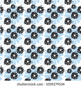 Blue and Black Floral Pattern