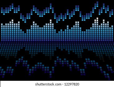Blue and black graphic equalizer that is reflected on a shiny surface
