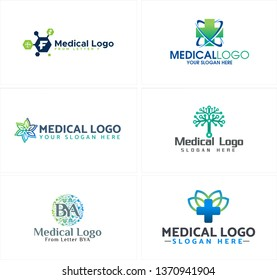 Blue black green line art combination vector icon plus tree floral logo design suitable for medical hospital health doctor pharmaceutical