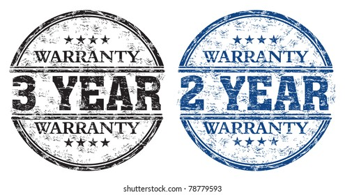 Blue and black grunge rubber stamps with the text three year and two year warranty written inside the stamps