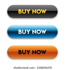 """Blue, black and orange button with glossy effect and shadow. Editable """"Buy now"""" button template. Set of vector e-commerce buttons with rounded corners isolated on white background."""