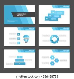 Blue and Black presentation template Infographic elements flat design set for brochure flyer leaflet marketing advertising