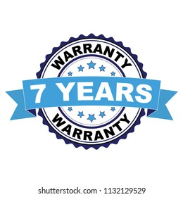 Blue black rubber stamp with 7 years warranty concept