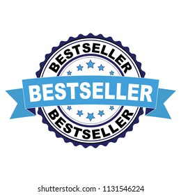 Blue black rubber stamp with Bestseller concept