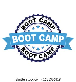Blue black rubber stamp with Boot camp concept