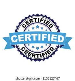 Blue black rubber stamp with Certified concept