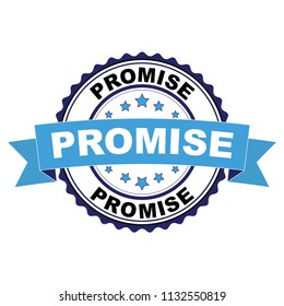 Blue black rubber stamp with Promise concept