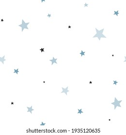 Blue and black star of different size vector seamless pattern. Starry space childish backdrop. Sweet dreams baby boy nursery background.