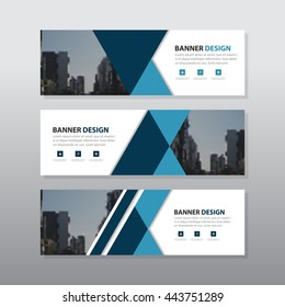 Blue black triangle abstract corporate business banner template, horizontal advertising business banner layout template flat design set , clean abstract cover header background for website design