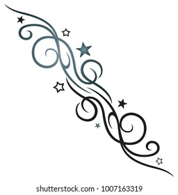 Blue and black Tribal Tattoo Ornament with stars.