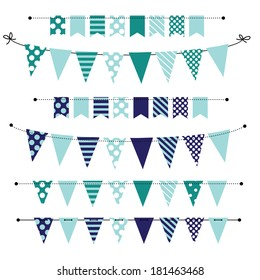 Blue blank banner, bunting or swag templates for scrapbooking  parties, spring, Easter, baby showers and sales, on transparent background, in vector format
